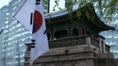 South Korea, Flag, Seoul Dongsibjagak Watchtower, Gyeongbokgung Palace Stock Footage