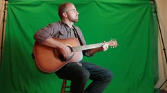 Green Screen Guitar Player Stock Footage