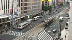 Main road in central Hiroshima - Japan Stock Footage