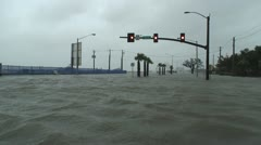 hurricane storm surge floods an intersection - stock footage