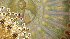 Sacral art in Orthodox church Stock Footage