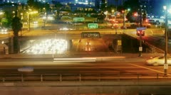 Street and freeway traffic in Los Angeles at night Stock Footage