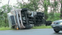 Truck flipped over by tornado Stock Footage