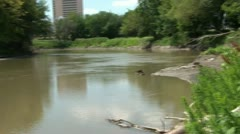 Downtown River Pan Stock Footage