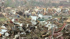 A neighborhood ravaged by a recent tornado Stock Footage