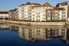 Quayside reflections - stock photo
