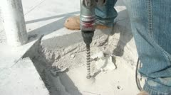 Drilling Hole into Concrete Stock Footage