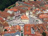 Central plaza in medieval city Stock Photos