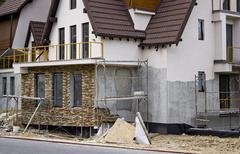 Villa construction site - stock photo