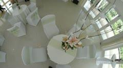 Overhead pan of wedding table Stock Footage