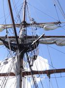Crew adjust the rigging and sails Stock Photos