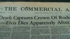 Elvis is Dead Newspaper Stock Footage