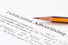 Publication advertising form Stock Photos