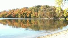 Fall Foliage Reflecting on Lake Stock Footage