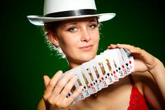 girl and playing cards - stock photo
