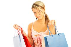 Girl with bags - comparison shopping. sale! Stock Photos