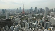 Stock Video Footage of Aerial View of Tokyo Tower in Japan, Tokyo Skyline, Cityscape, Skyscrapers