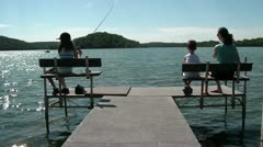 Family on Dock Fishing Stock Footage