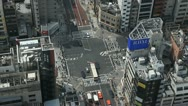 Stock Video Footage of Aerial View of Tokyo Crossroad, Japan, Intersection, Commute, Car Traffic