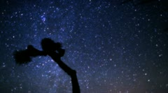 Amazing galaxy of night stars and milky way passes joshua tree in timelapse Stock Footage