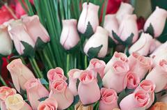 wooden tulips - stock photo