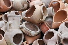 broken amphoras - stock photo