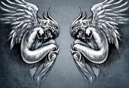 Sketch of tattoo art, two angels, fantasy concept Stock Illustration