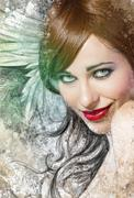 mixed media, beautiful woman with red hair with wings, art illustration - stock illustration