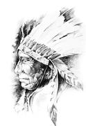Stock Illustration of sketch of tattoo art, native american indian head, chief, isolated