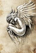 sketch of tattoo art, heaven angel with wings - stock illustration