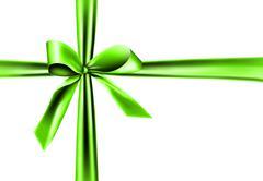 green ribbon on white background - stock illustration