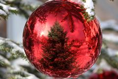 Stock Photo of bauble on christmas tree with reflection