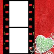 Red frame for two photos of love - stock photo