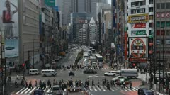 Shinjuku Neon Sign Street, Shopping Area in Tokyo, Japan, Day Traffic Crowds Stock Footage