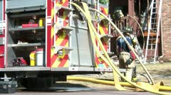 Firemen Talking at Emergency - stock footage