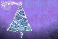Fir christmas card with lights Stock Illustration