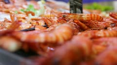 Seafood and fish stand at foodstore Stock Footage