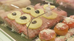 Pre-made food in store Stock Footage