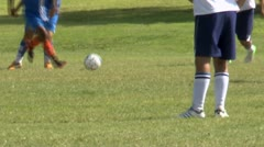 Boys Kick Soccer Ball Stock Footage