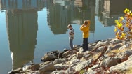Nashville Waterfront 5 HD Kids Playing at the River Beautiful Stock Footage