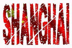 Shanghai grunge tekstiä lippu Piirros