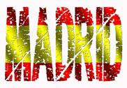 Madrid grunge text with flag Stock Illustration