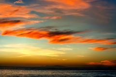sunset over santa monica bay - stock photo