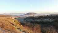 Timelapse sunrise in the mountains. Cave city Eski-Kermen, Crimea, Ukraine VI-XI Stock Footage