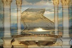 heavenly stairs - stock illustration