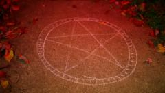 pentagram cursed land baphomet - stock footage