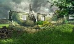 fantastic ruins - stock illustration