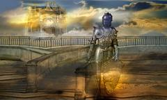 the guardian of the celestial palace - stock illustration