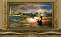 quadro nel museo del surrealismo - stock illustration