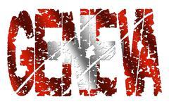 Geneve grunge tekstiä lippu Piirros